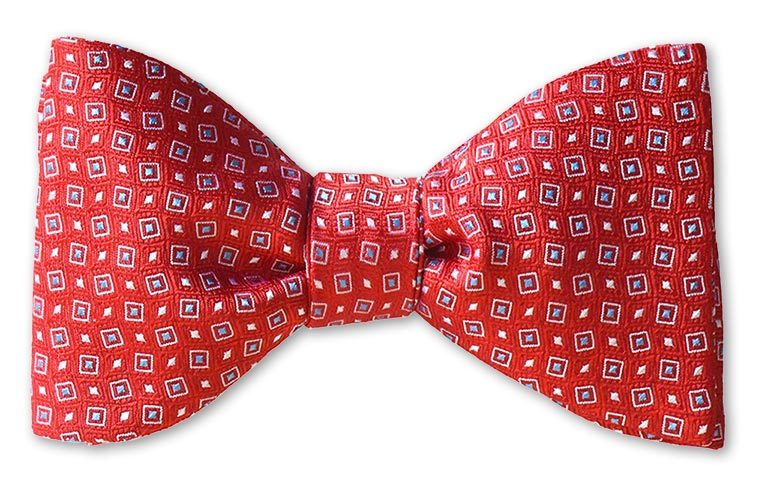 pretied red woven dot bow tie