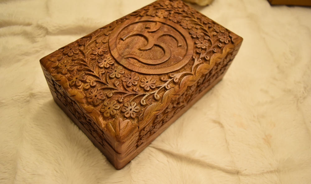 Etched Om Wood Carved Box; FB1426