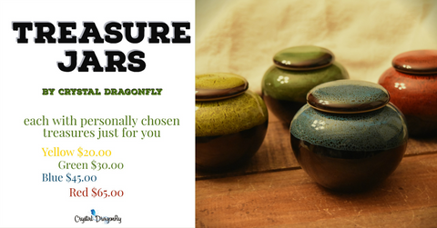 treasure jars with intuitively chosen crystals just for you