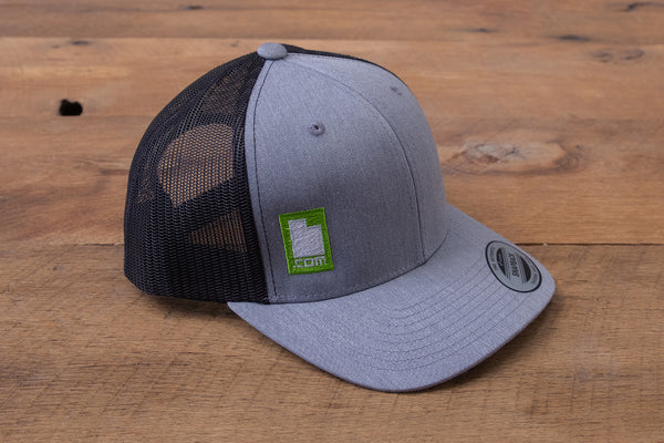 Retro Trucker Hat - Grey/Black/Green