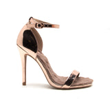 ROSE GOLD FUR ONE BAND HEEL - Adore Fashion