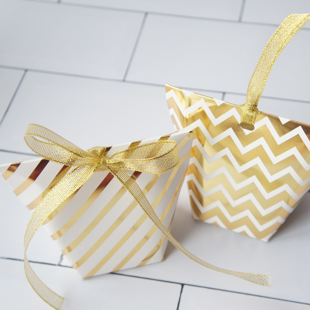 Gold Print Party Favor Candy Box 12ct
