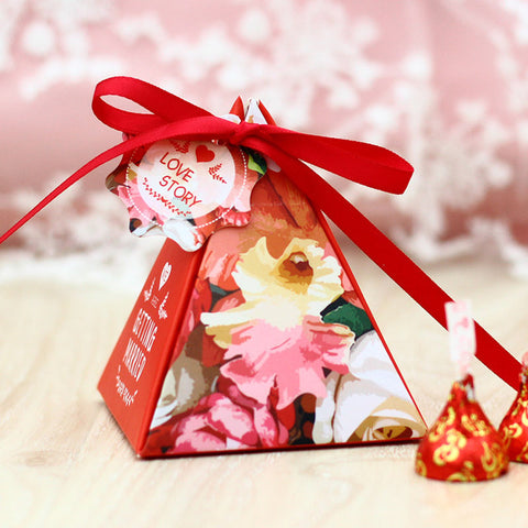 Pyramid Candy Party Favor Box -  Red