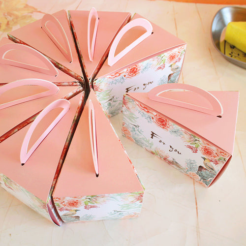 """For You"" Pink Triangle Cake Box 10ct"