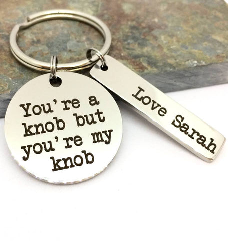 Personalised My Knob Keyring