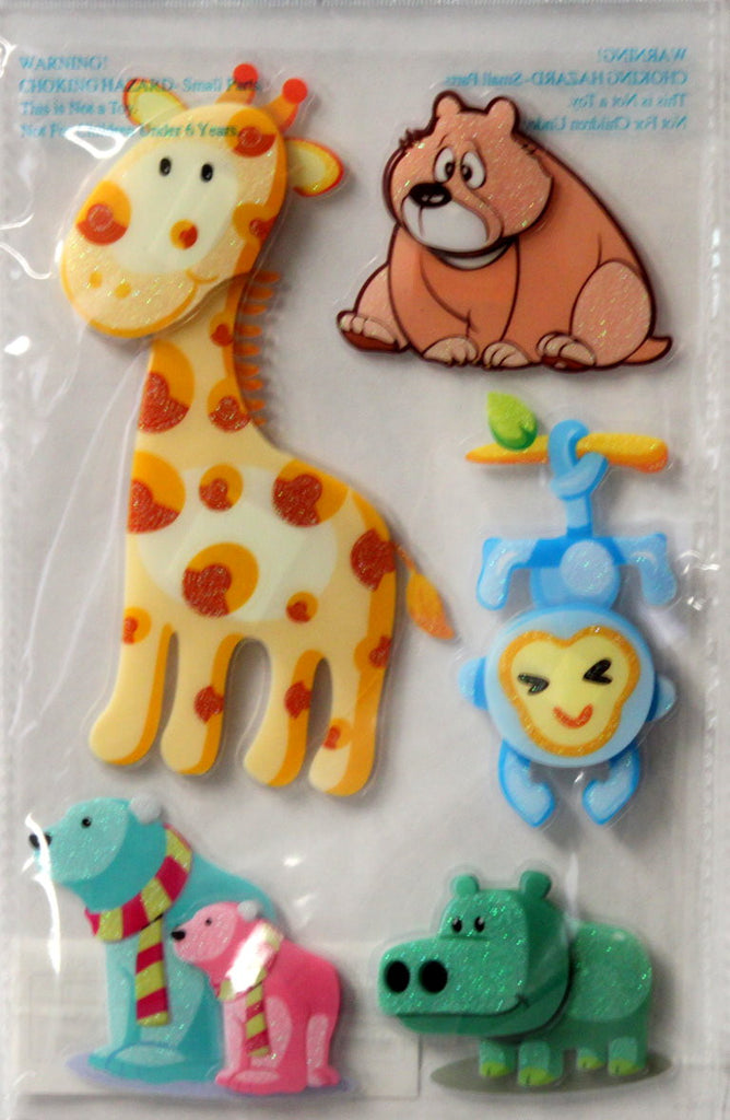 Vivamerica Handmade Dimensional Glitter & Acetate Zoo Friends #2 Stickers