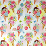 FS257 Vintage Icecream Cone Floral Donuts | Fabric Styles