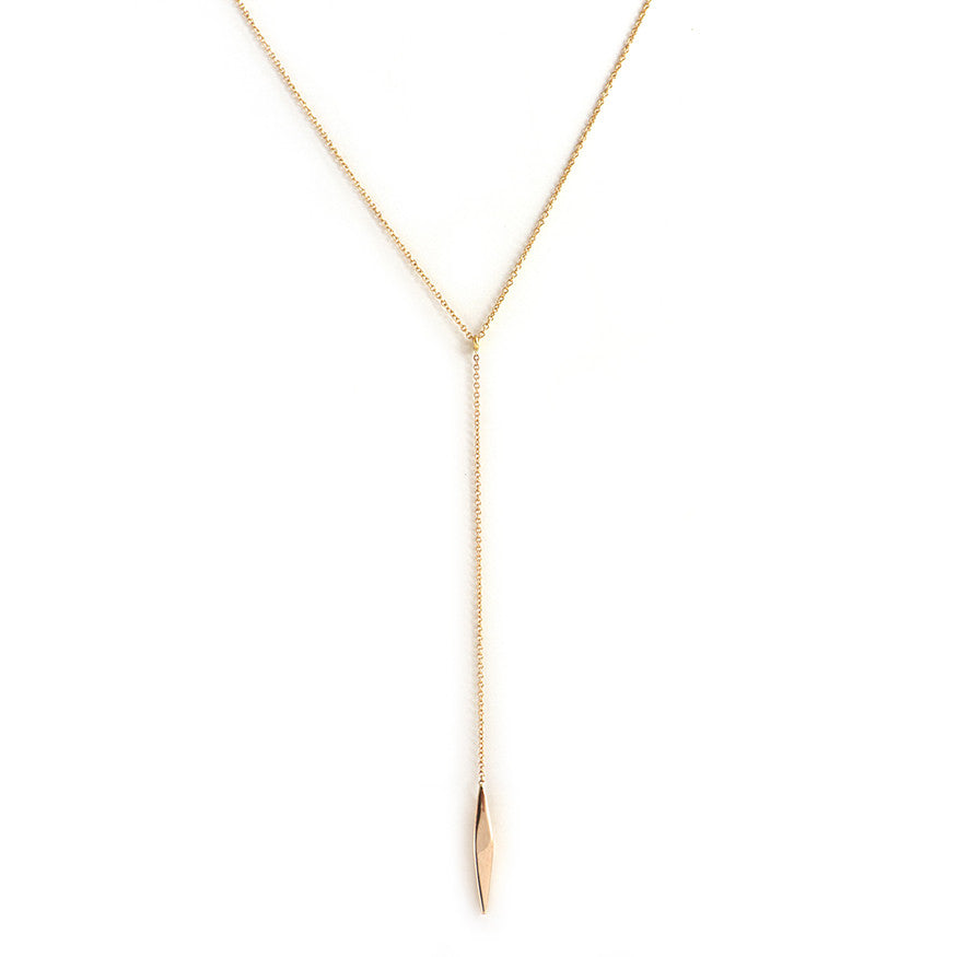 Gold Dart Lariat Necklace