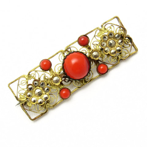 Antique Gilt Brass Marcasite Brooch Red Glass Coral Jewelry