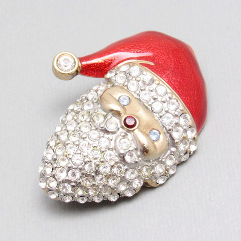Rhinestone Santa Brooch Monet Jewelry