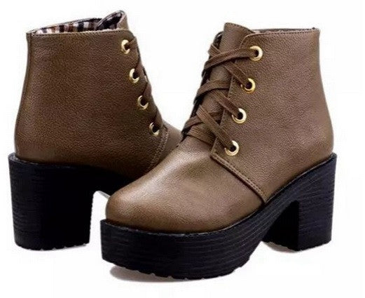New Fashion Lace Up Platform Heels Ankle Boots - Hot100Fashions