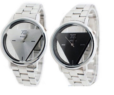 NEW Watch Lover Silver Stainless Steel Triangle Dial Quartz Wrist Watch - Hot100Fashions
