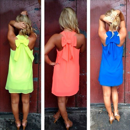 Women's Casual Dress - Tank Sleeveless Mini Party Dress Back Bowknot