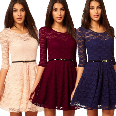 Women's Fashion Lace Half Sleeve Casual Dress