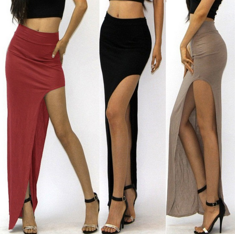 Women's Sexy Open Side Split Skirt High Waist