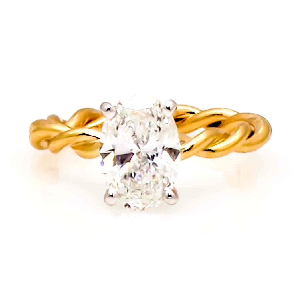 Unique 14k Gold Hand Twisted Cable Rope Engagement Ring and Wedding Band Set with 1.5 Carat Oval Shaped Forever One Moissanite Wedding Set - FBO15ROP25