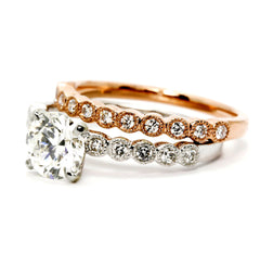 1 Carat Hand Carved, Diamond Engagement Ring,14k White Gold, Rose Gold,Yellow Gold,18k Gold,Platinum - WD73081ER
