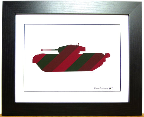 CHURCHILL TANK IN ROYAL TANK REGIMENT TIE FABRIC
