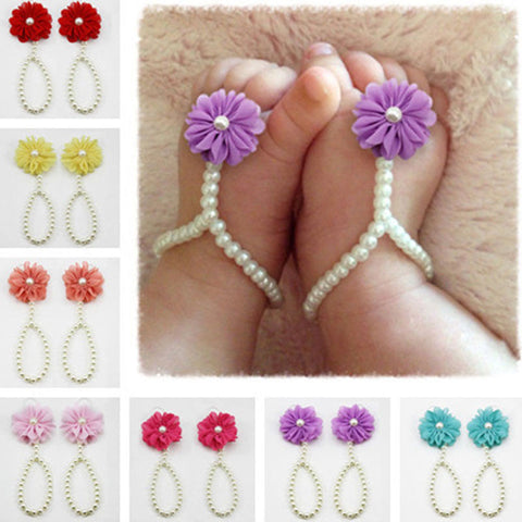 Baby Girls Barefoot Pearl Flower Sandals Anklets
