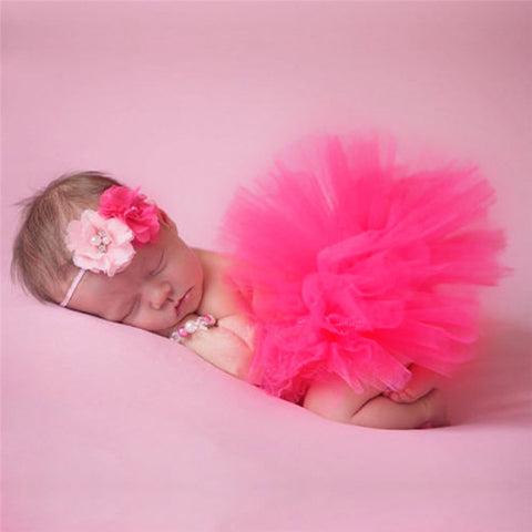 Beautiful Newborn Baby Photography Props Flower Tiara Headband TuTu Dress Handmade 9 Colors