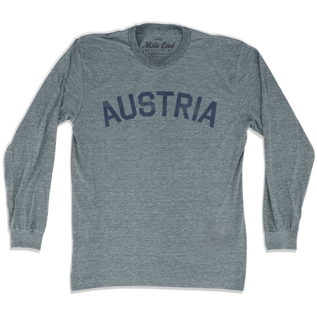 Austria City Vintage Long Sleeve T-shirt - Athletic Grey / Adult X-Small - Mile End City