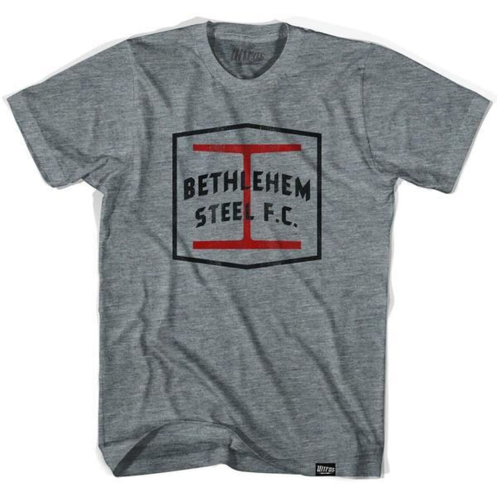 Bethlehem Steel FC T-shirt - Athletic Grey / Adult Small - Ultras Vintage American Soccer T-shirts