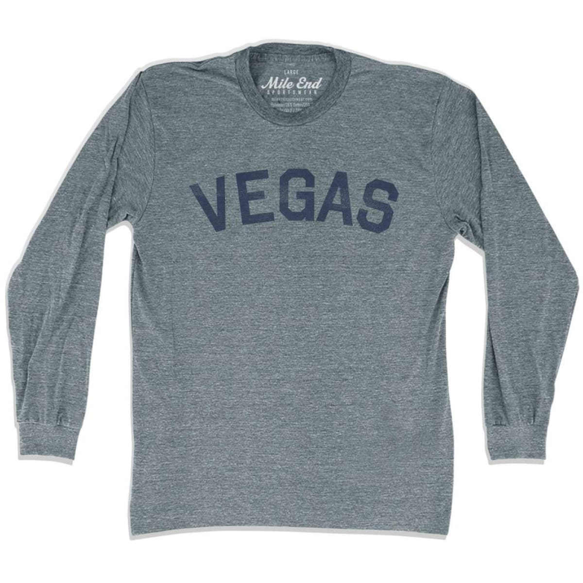 Vegas City Vintage Long Sleeve T-Shirt - Athletic Grey / Adult X-Small - Mile End City