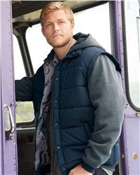 8701-Burnside - Nylon Vest with Fleece Sleeves