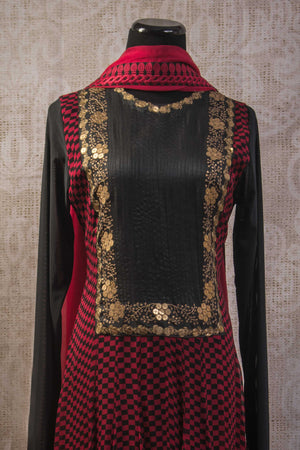 500942-suit-long-sleeve-red-black-geometric-pattern-with-gold-embroidery-and-scarf-top-view