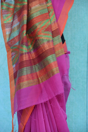 90B690 Pink & orange half matka silk & half cotton saree from India. The plain saree in vibrant hues is a lovely Indian outfit for wedding functions & ethnic occasions. But this plain sari online in USA at Pure Elegance.