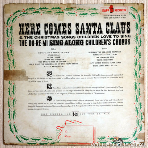 Do Re Mi Children's Chorus ‎– Here Comes Santa Claus and The Christmas Songs Children Love To Sing - Vinyl Record - Back Cover