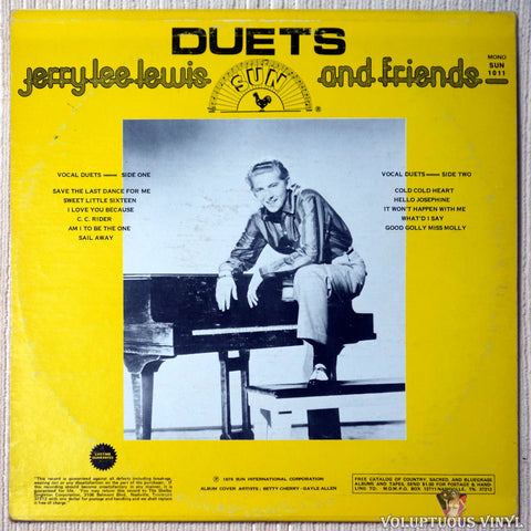 Jerry Lee Lewis And Friends ‎– Duets vinyl record back cover