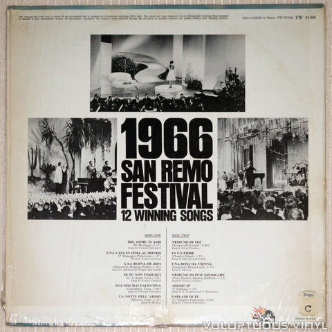 San Remo Festival 1966: 12 Winning Songs - Vinyl Record - Back Cover