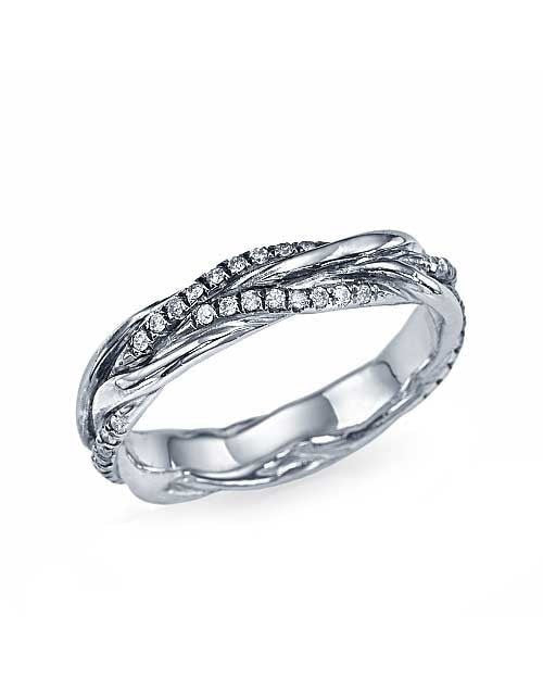 Wedding Rings Braided Wedding Ring with 0.22ct Diamonds in White Gold