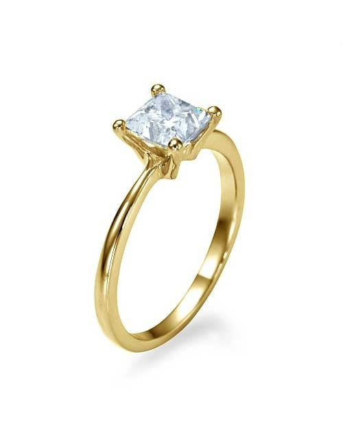Engagement Rings Yellow Gold Semi Mount Rings for Princess Cut Diamonds