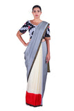 Grey & Off-White Saree