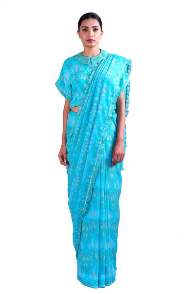 Blue Printed chiffon Saree