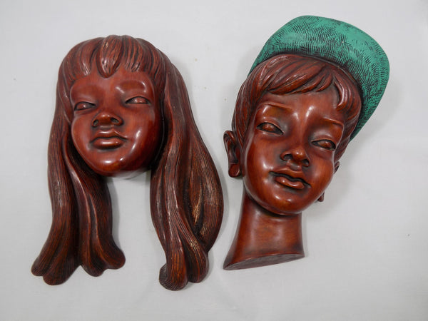 German Boy and Girl Achatit Werkstätten 1960's Wall Masks full front view of both girl and boy
