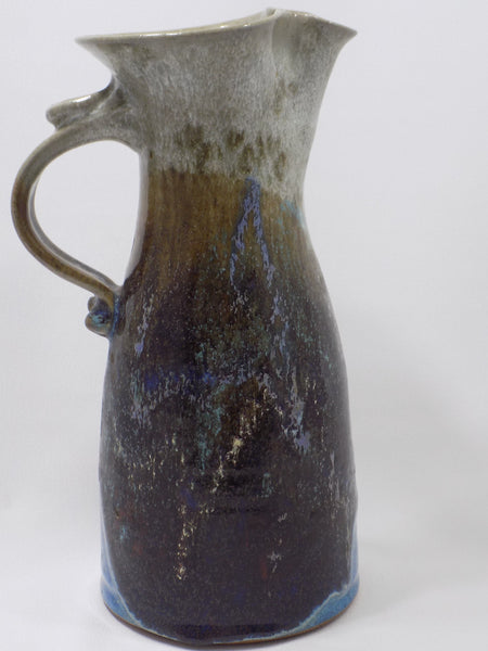1992 Drip Glazed Stoneware Studio Art Pottery Tall Pitcher Handle Left