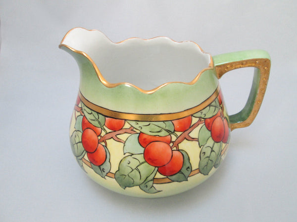 Antique  Bavarian China Hohenzollern Large Cider Pitcher Circa 1910-Handle Right
