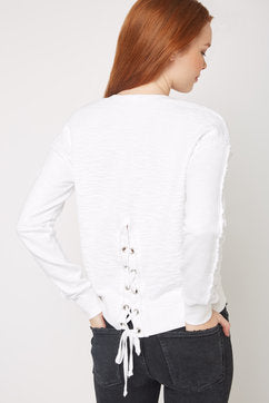 Red Haute Textured Lace Back Sweatshirt