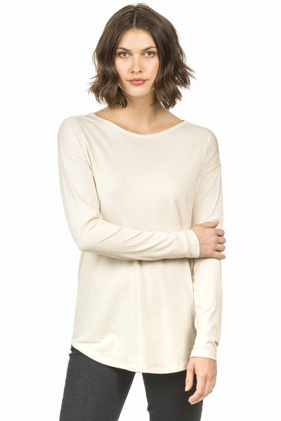 Lilla P Champagne Long Sleeve Cutout Top