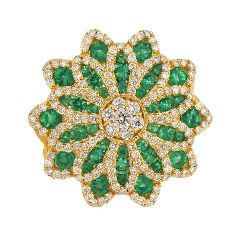 Big Fancy Flower Shaped with Diamonds & Columbian Emeralds Ring