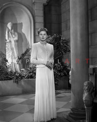 Ingrid Bergman Leaning on Couch in White Dress Premium Art Print