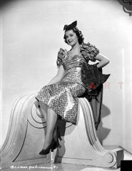 Ann Rutherford Leaning on a Table, Making a Cute Smile Premium Art Print