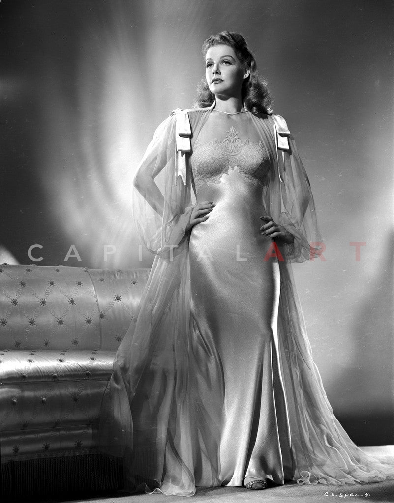 Ann Sheridan wearing a Long Gown Premium Art Print