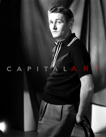 Alan Young Leaning on the Chair in Black Polo Shirt Premium Art Print