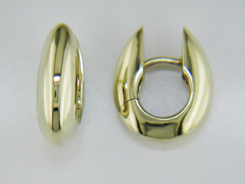 14k Yellow Gold Oval Dome Huggies