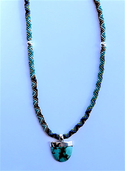 Isha Elafi Rope Necklace Turquoise Green With Turquoise Drop