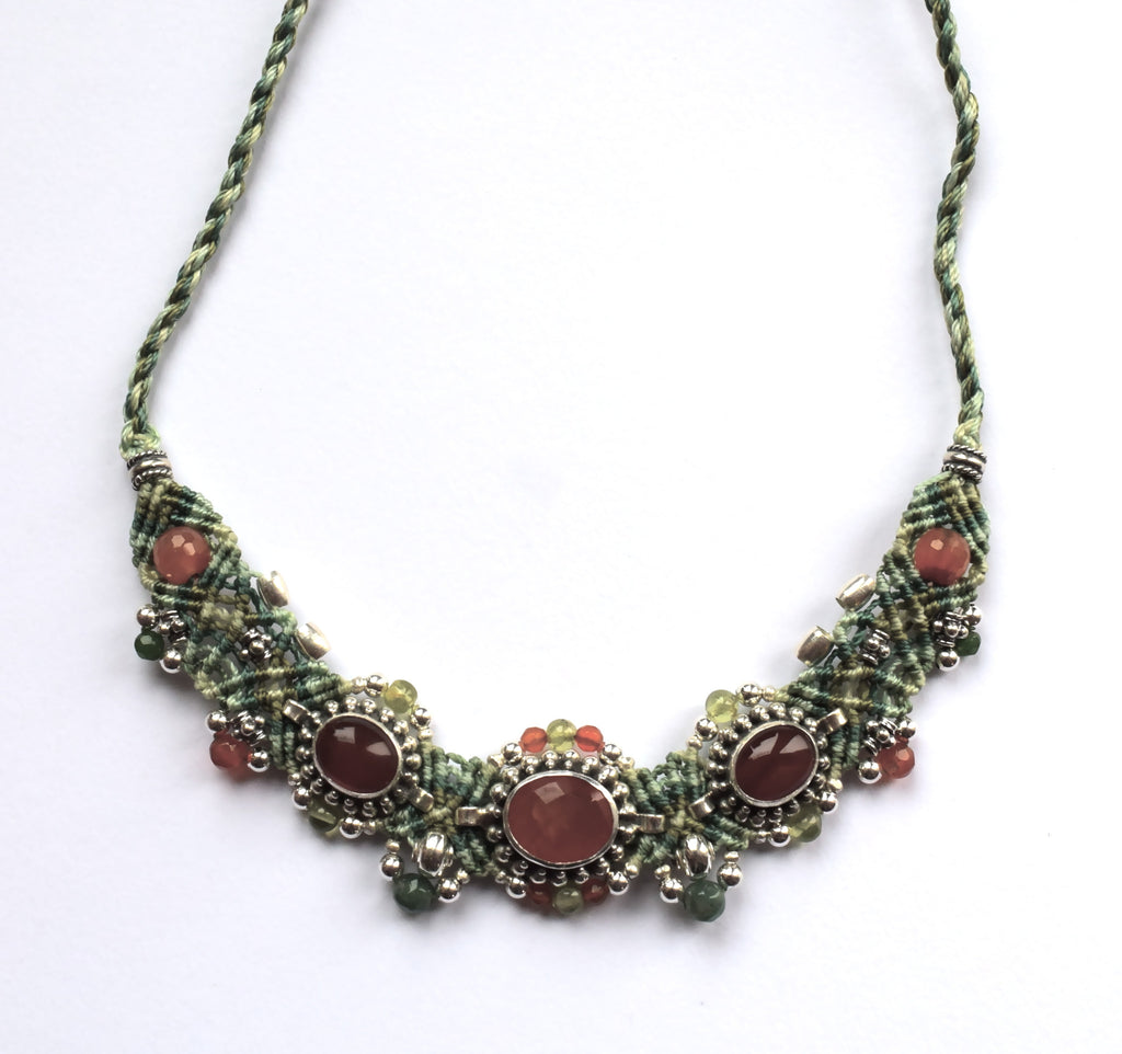 Isha Elafi Small Choker in Green with Orange Stones